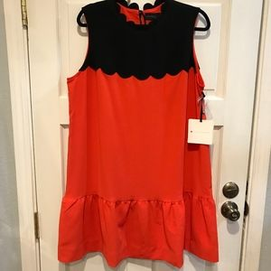 Victoria Beckham Dress Orange Black Scallop Hem 1X